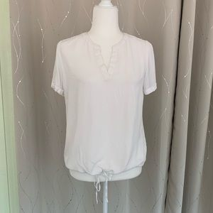 Tom Tailor White Honeycomb Bloused Waist Top